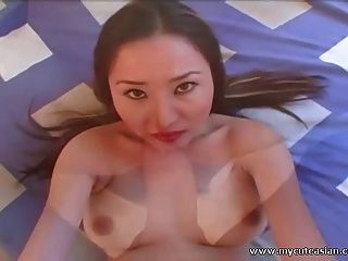 Busty asian amateur babe fodido e facialized em pov