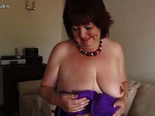 Chubby, amador, mãe, toying, dela, antigas, vagina