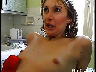 Amador francês casal em 3some anal fucking com papai voyeur