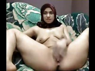 Árabe, menina, hijab, jogo, seu, buceta, came