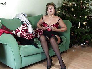 Maduras, britânico, dona de casa, sendo, impertinente, dela, sofá