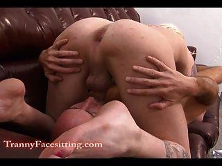 Transsexual, babá, lambendo, pé, adoração, anal, sexo