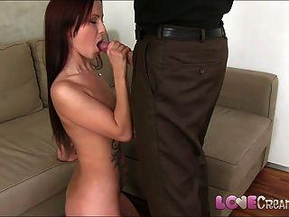 Amor creampie jovem amador bonito casting para começar a pornografia