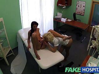 Fakehospital, doutor, enfermeira, apreciar, pacientes, molhados, bichano
