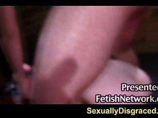 Gigante, dildo, grande, galo, empurrar, ligado, escravo, sheena, rosa