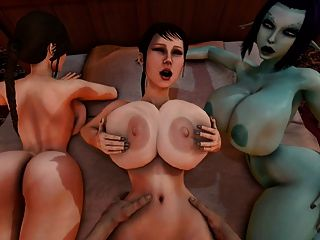 Trishka fica fodido enquanto soria e lara croft assistir 3d