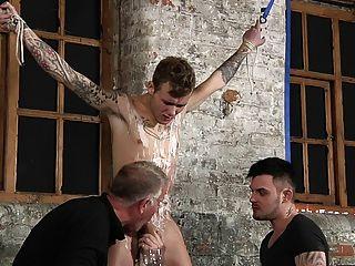 Bdsm, escravo, menino, amarrado, punido, chicoteado, schwule, jungs