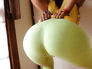 Burro redondo perfeito em calças de yoga ultra apertadas!Cameltoe n tits