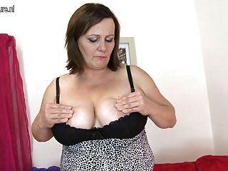 Grande, breasted, maduras, mãe, faminto, bichano