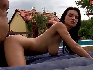 Grande boobed babe loves anal
