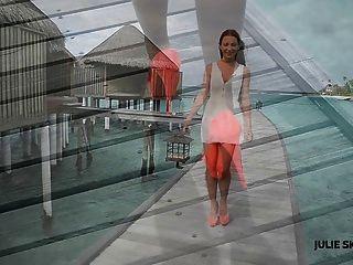 Linda garota passeando e upskirt em saltos altos maldivas