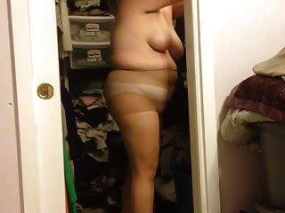 Esposa, pôr, dela, panos, enxadas, preto, cinto, sobre, bbw, corporal