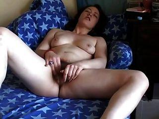 Gorda, chubby, amigo, masturbating, dela, peludo, pussy, sofá