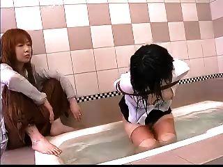 Asiático, lesbian, água, bondage