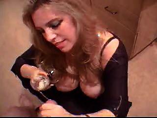 Blonde, bebidas, fresco, cum, vidro