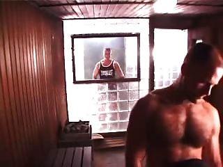 Trio quente na sauna