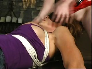 Lésbica, rosto, sentando, bondaged, menina