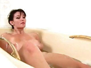 Bonito, menina, muito, peludo, boceta, tocando, banheiro