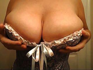 Curvy, peito, menina, espartilho