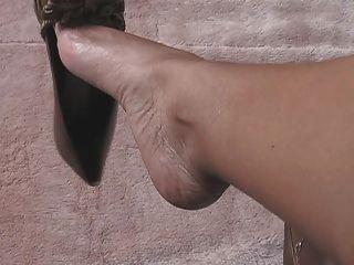 Pés sexy e perna tease