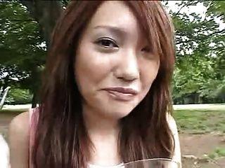 Japonês, menina, comer, cum, alimento