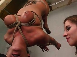 Lesbiana, bdsm, mulher, bondage, tit, sugar, peito, sugar, sufocar