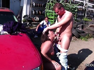 Sedf de mãe de milf alemã para foder ao ar livre por jovens rapazes