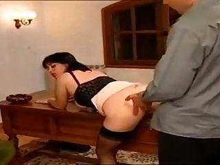 Vintage francês maduro em meias pretas anal