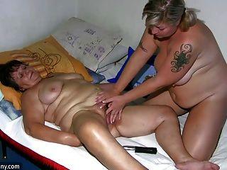 Oldnanny gordinho senhora e milf masturbar, foder e brincar com