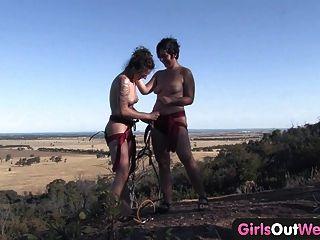 Meninas, oeste, peludo, lésbica, amadores, escalando, rocha