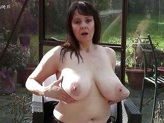 Grande, breasted, britânico, housewife, masturbating, dela