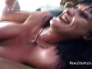 Interracial, par, anal, sexo, car