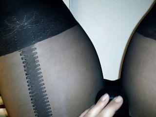 Mulher, meia calça, pantyhose, tocando, brinquedo