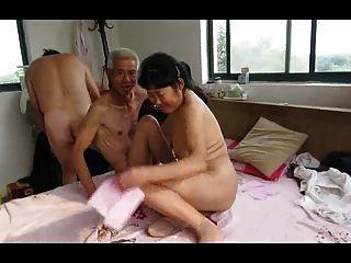 Asiático, vovô, trio, maduras, mulher