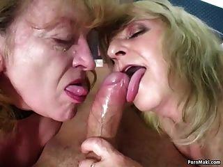 Cara afortunado fode duas grannies surpreendentes