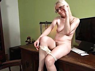 Madura, loira, solo, masturbação, escrivaninha