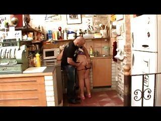 Grande, bbw, avó, fodido, cozinha