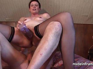 Horny francês maduro vaginal dupla obstruído e sodomizado
