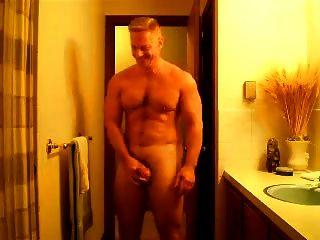 Str8 músculo papai flexão posando e empurrão