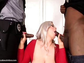 Big Butt Baby White fucked by 2 big black cocks