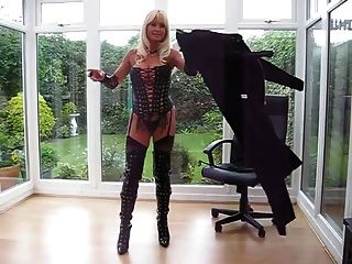 milf em pvc coat \u0026 leather lace up basque