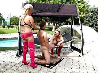 2 gordas dominós do bbw em orgia sexual trio pela piscina