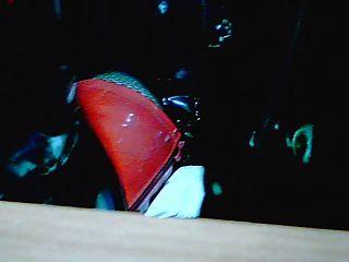 botas altas da coxa vermelhas e do corpo pvc pretas ...