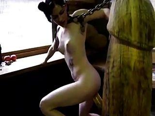 gótico, menina, foda, gigante, pau de madeira