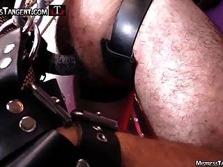 tangente e cybil chicoteando e strapo femdom em couro