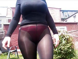 spandex angel sexy vê através de calças fora