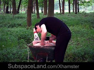 jovem escravo fica amarrado e fodido no jardim