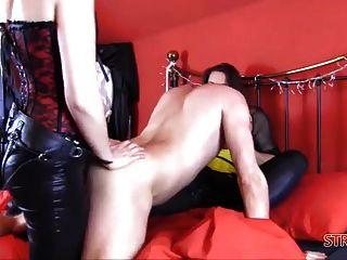 Hard Double dom spitroast anal fuck com big strapon cocks