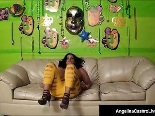 Rainha cubana angelina castro bateu por muito pau na cam!
